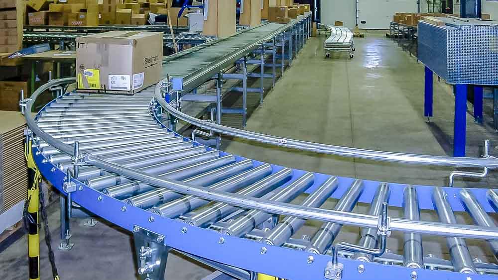 Die leichte Rollenbahn mit Kurve - Schwerkraftrollenbahnen