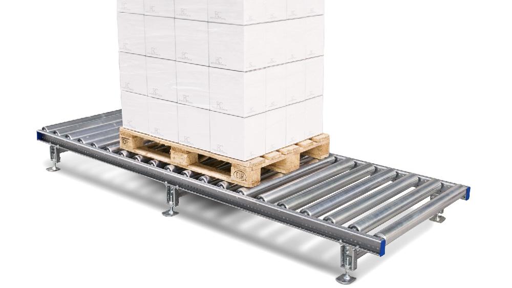Palettentransport über die Rollenbahn - Föchenlasten bis 800kg sind für dieses System kein Problem