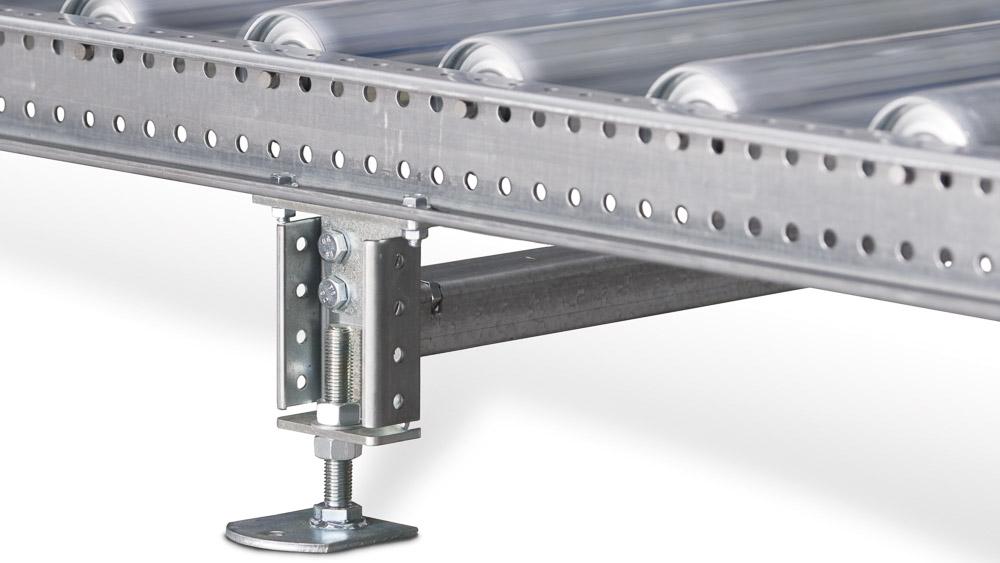 Rollenbahn bis 800kg Tragkraft - individuell einstellbare Profilhöhe und variable Tragrollenteilung
