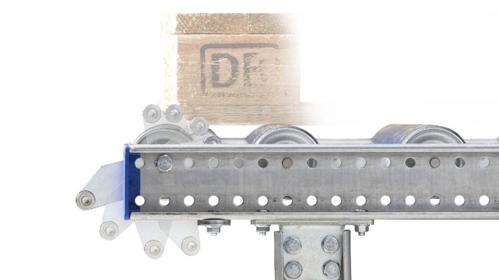 Rollenbahn mit einer Trennvorrichtung um die nachfolgende Palette zu stoppen