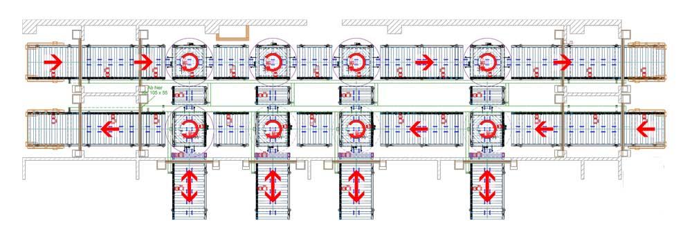 Übersicht-über-die-Förderanlage-mit-Rollenbahnen-und-Drehstation-für-die-Palettentransport